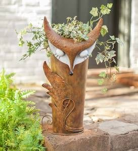 Indoor/Outdoor Metal Fox Planter