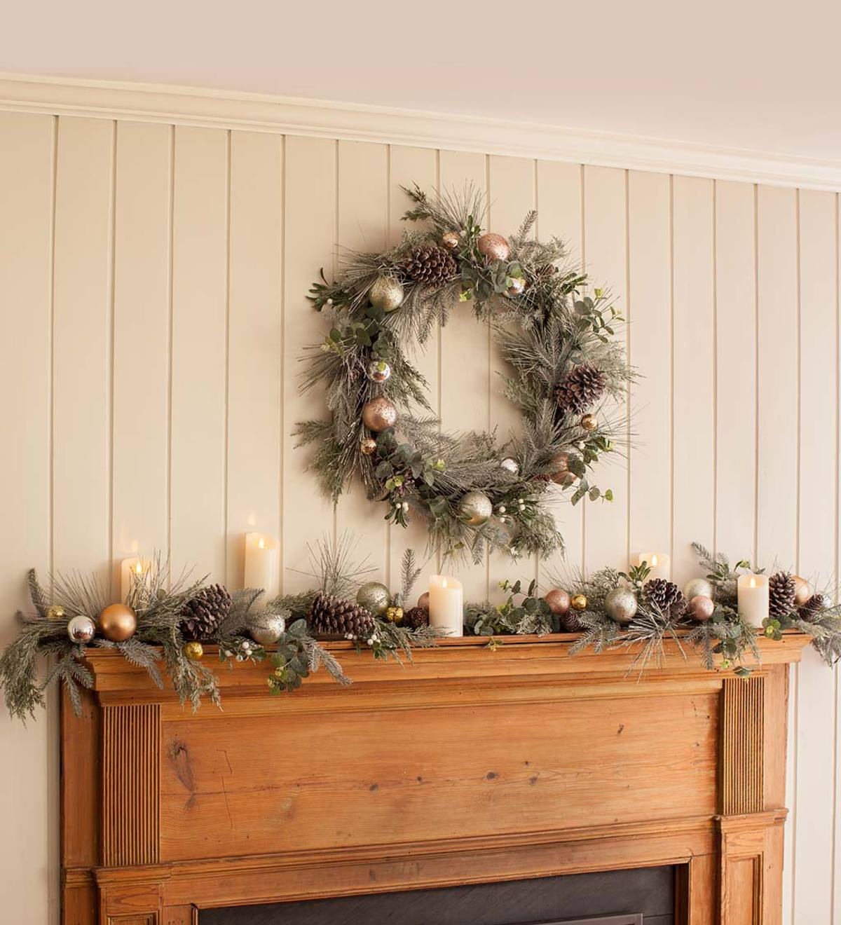Faux Garland with Ornaments
