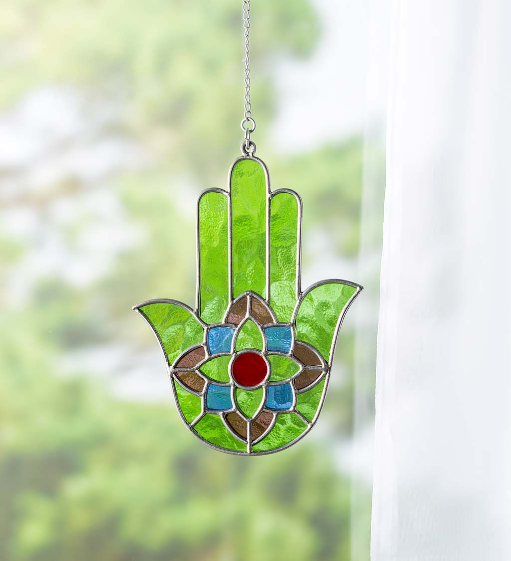 Stained Glass Hamsa With Lotus Symbol With Hanging Chain