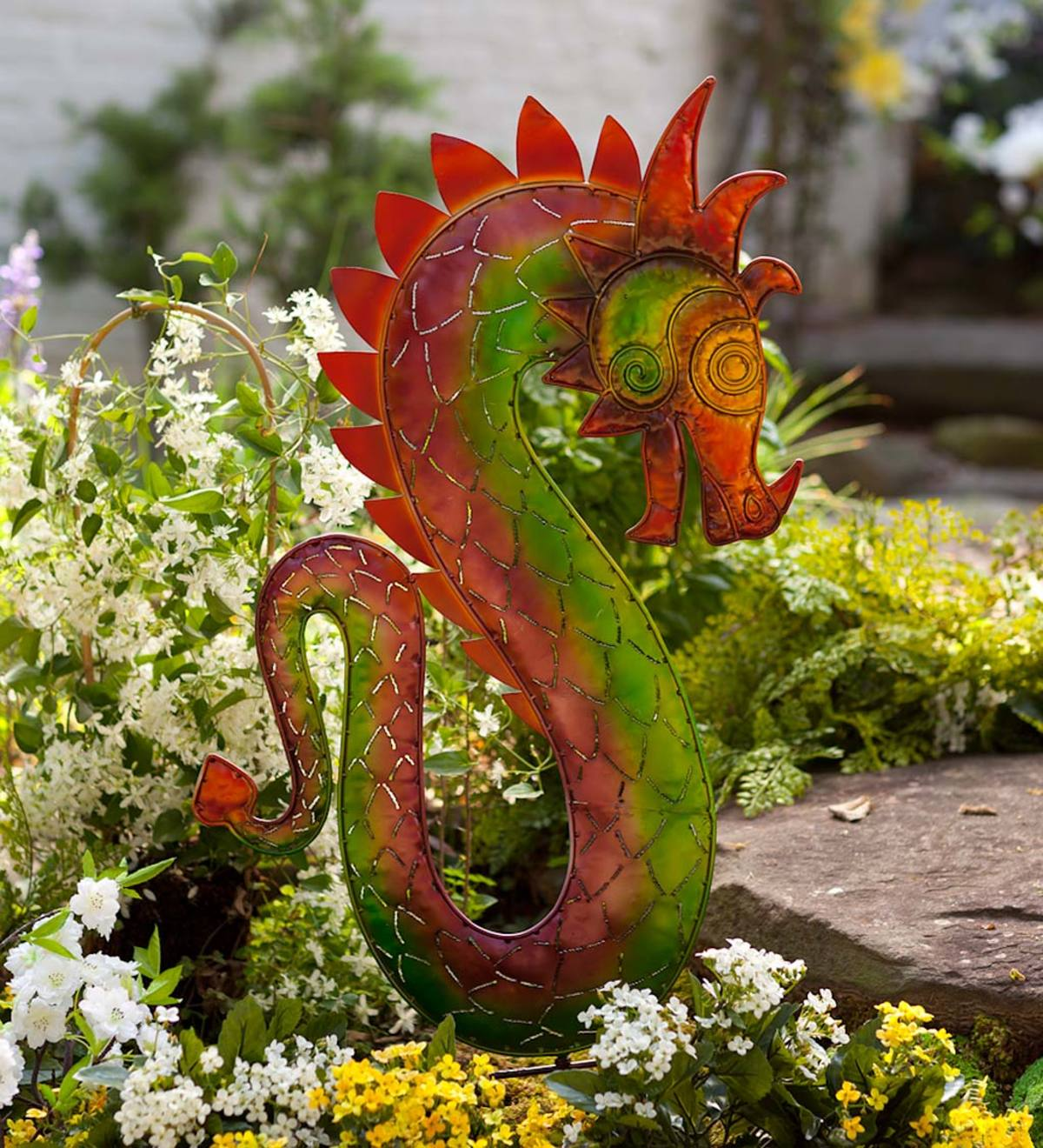 Right-Facing Colorful Metal Dragon Garden Stake
