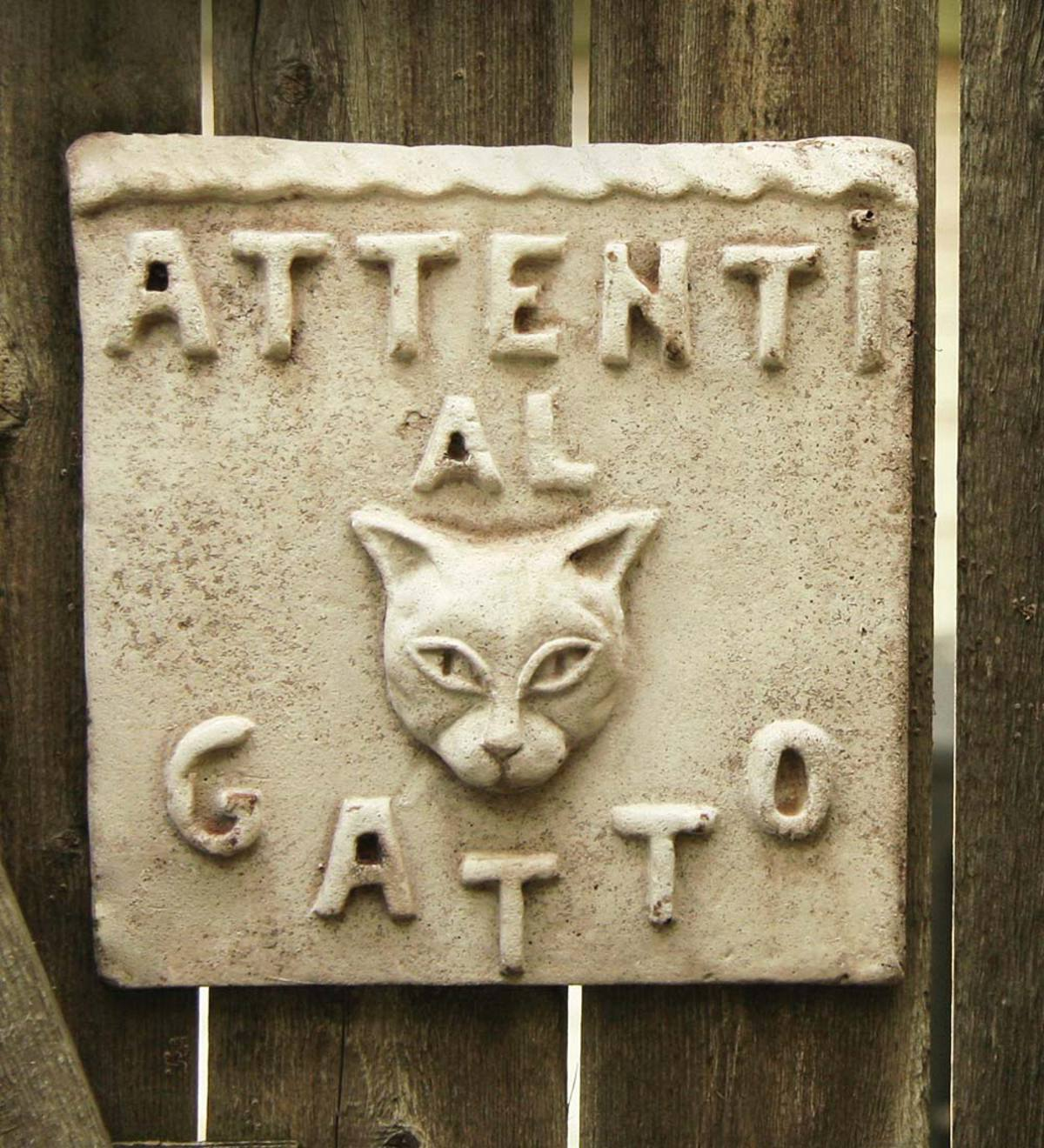 Beware of Cat Stone Plaque