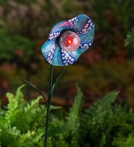 Solar Blue Glass Flower Garden Stake