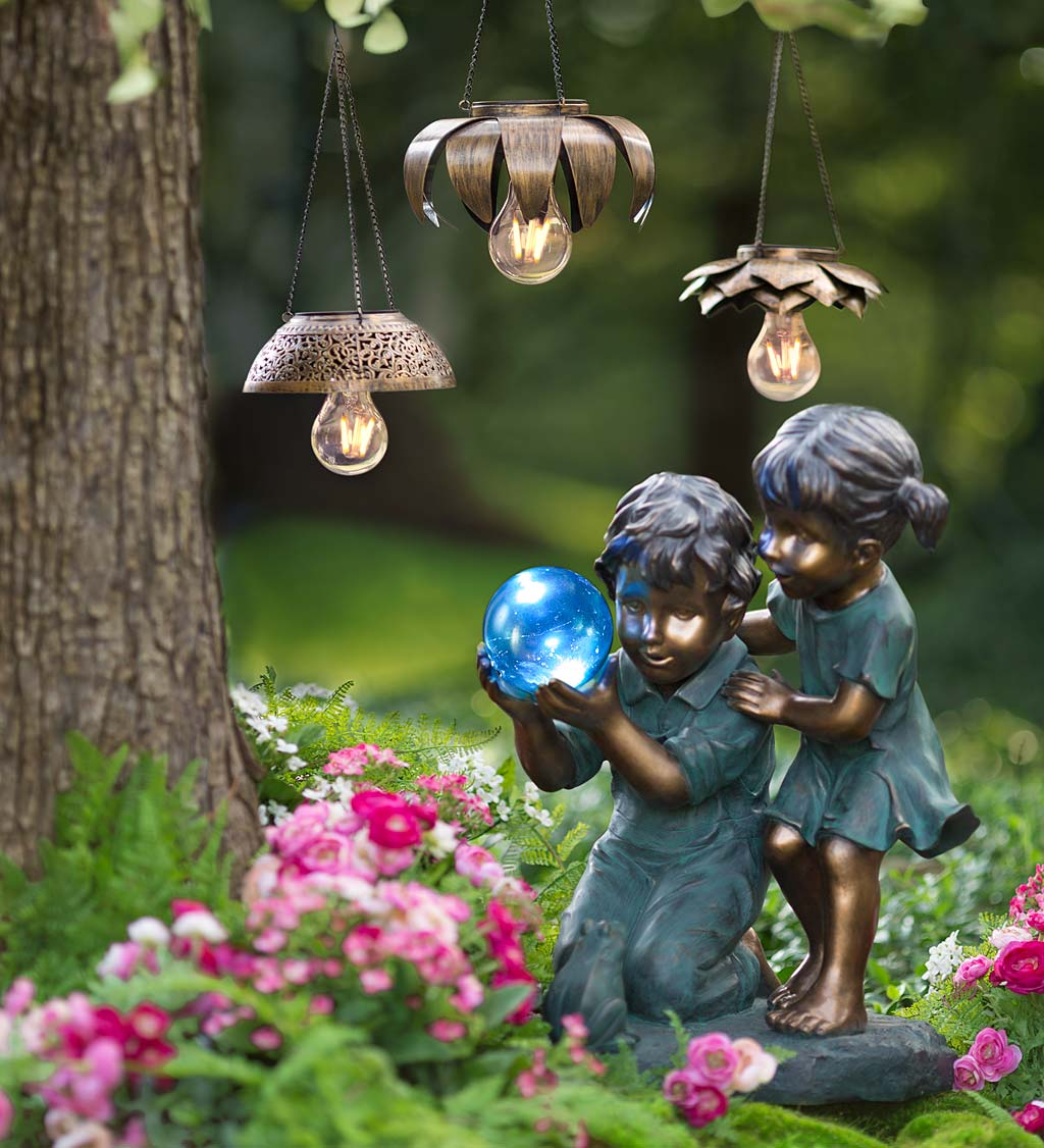 Antiqued Metal Hanging Solar Light