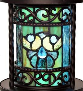 Wireless Stained Glass Outdoor Lantern - Blue Shells