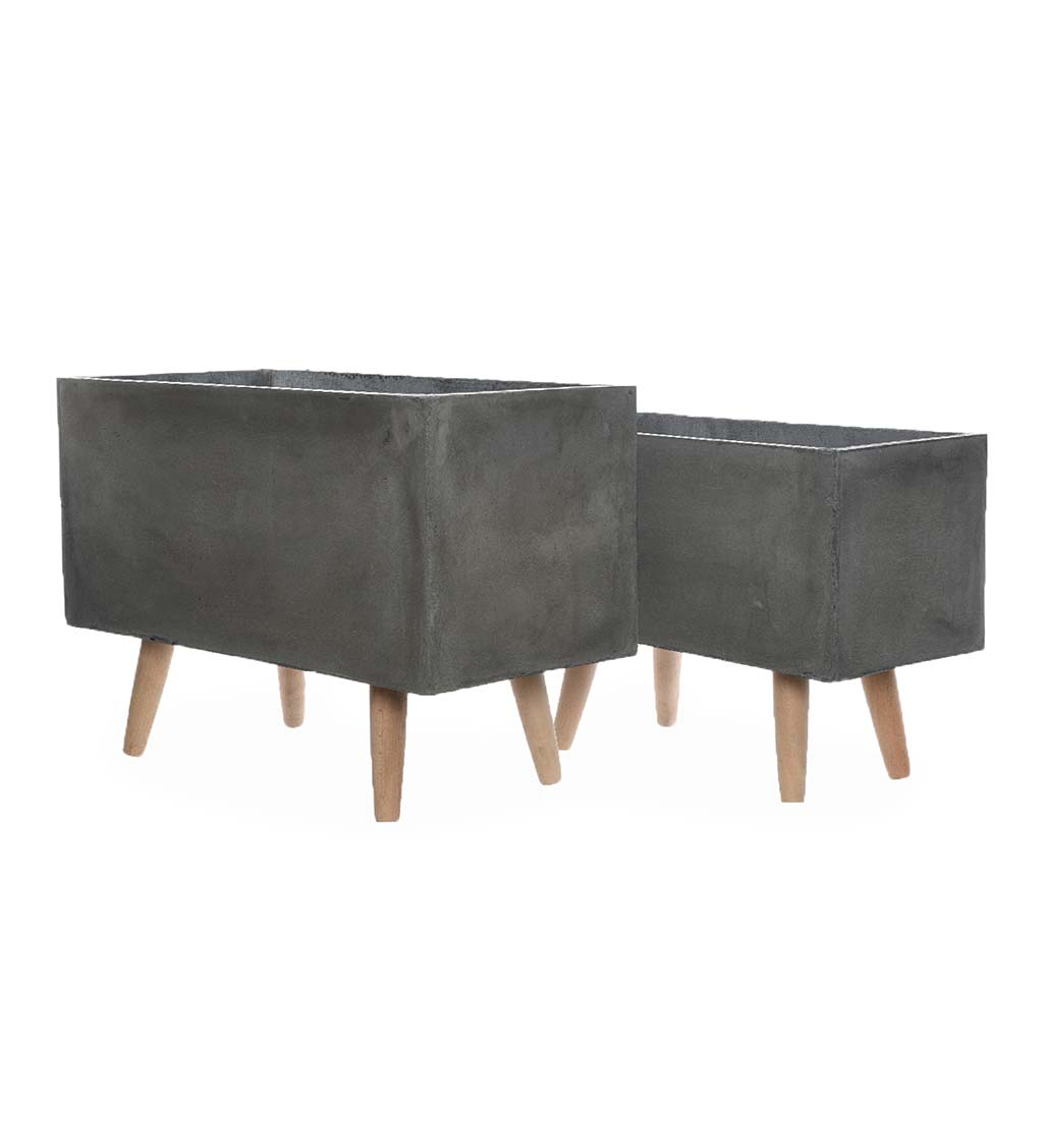 Clay Planters on Wooden Legs, Set of 2