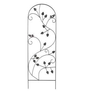 Wrought Iron Powder-Coated Birds and Vines Trellis