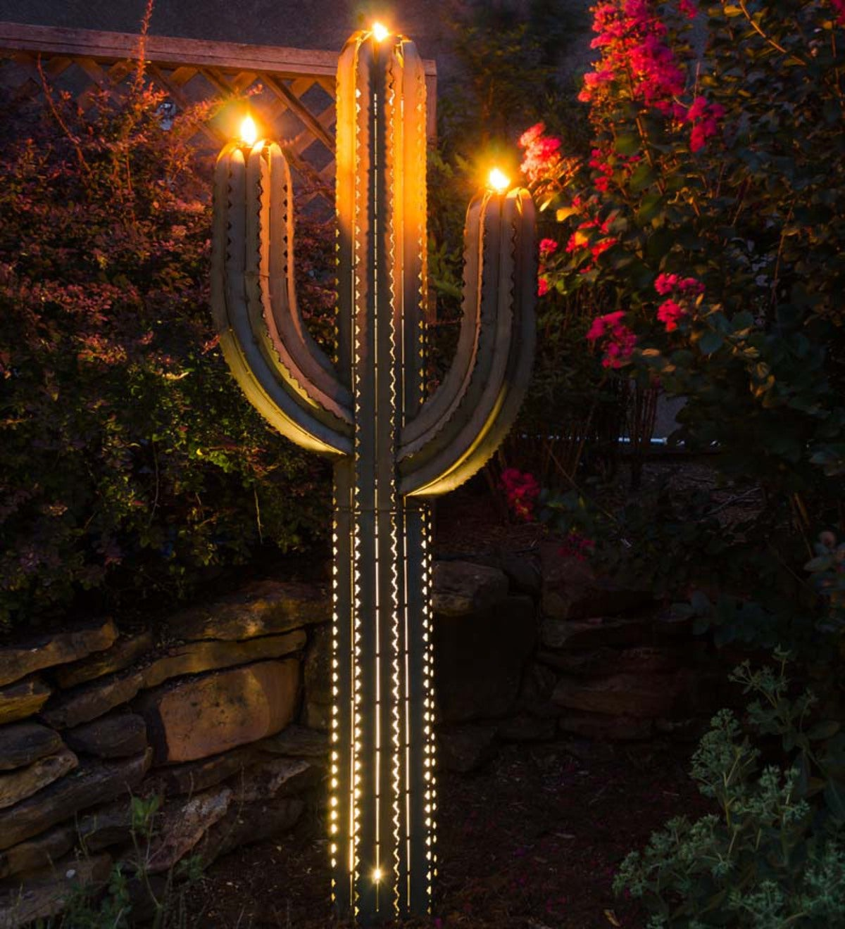 Green Metal Saguaro Cactus Outdoor Torch - 5 Foot