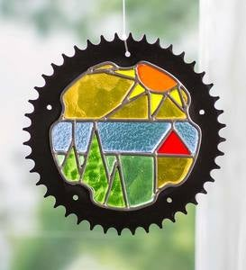 Stained Glass Landscape in Bicycle Chainring