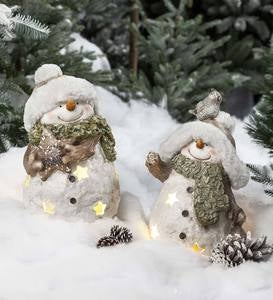 Lighted Snowmen Sculptures, Set of 2