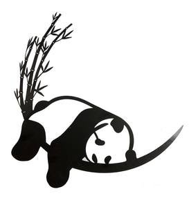 Resting Panda and Bamboo Metal Wall Art
