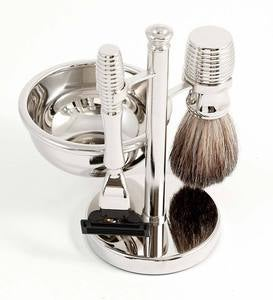 4-Piece Shaving Kit with Chrome