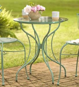 Metal Leaf Table and Chair Set, 3-Piece