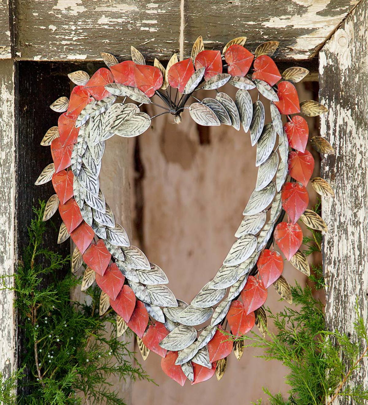 Handcrafted Frosted Metal Heart Wreath
