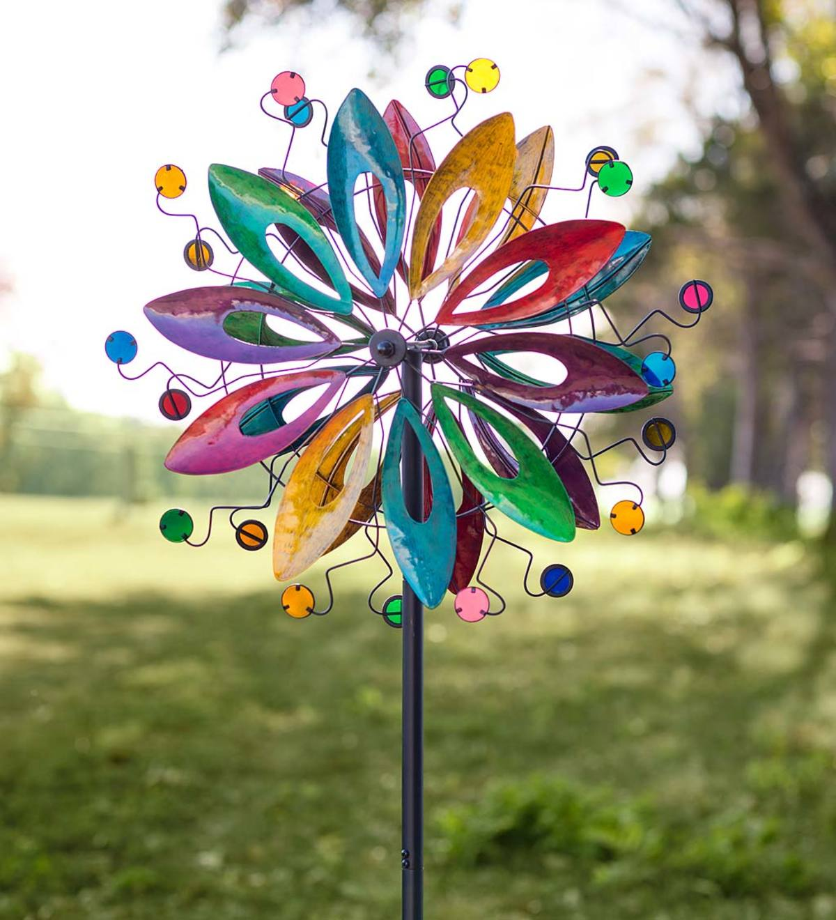 Colorful Dual-Rotor Flower and Disc Metal Wind Spinner