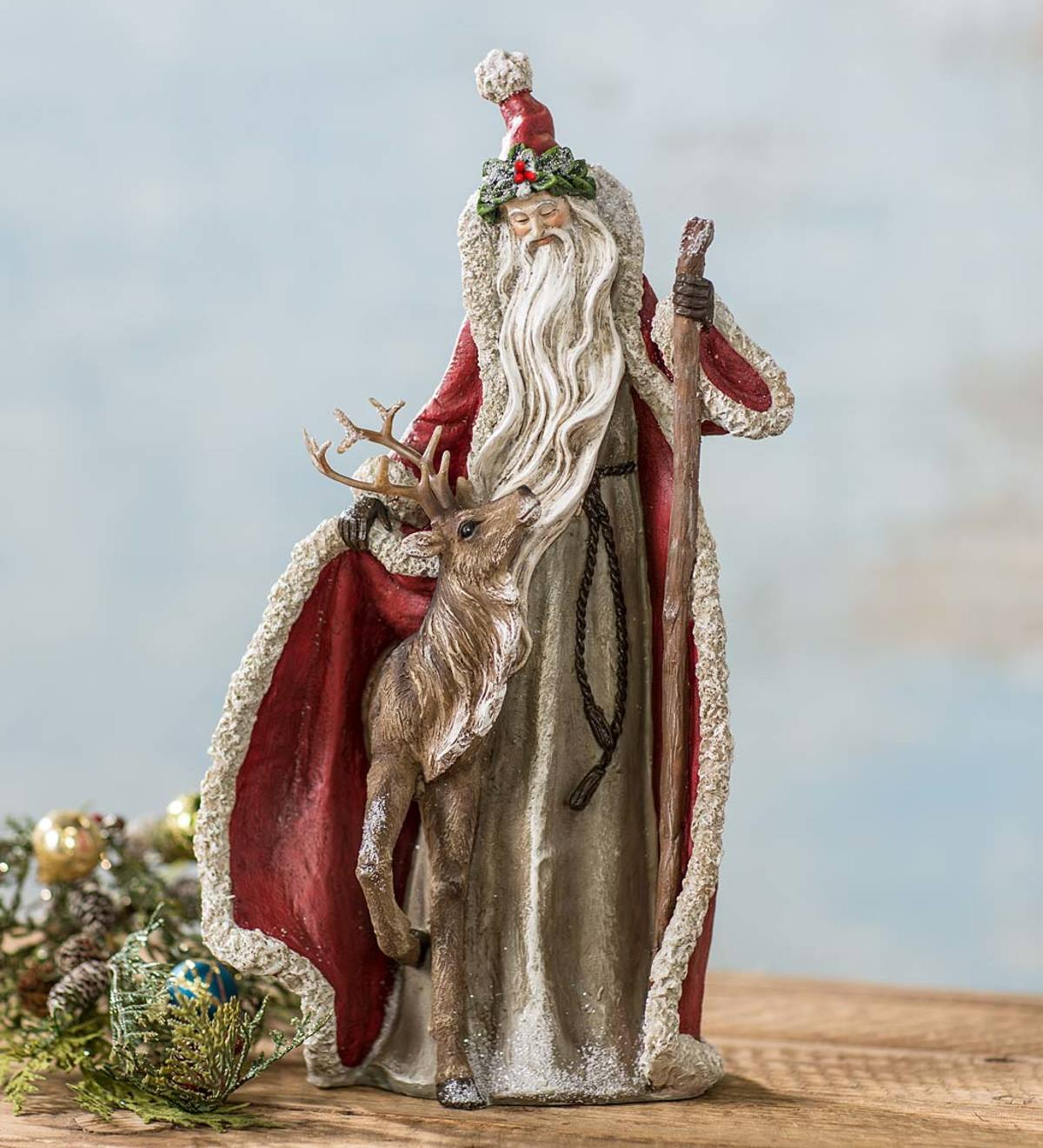 Santa with Reindeer Holiday Statue