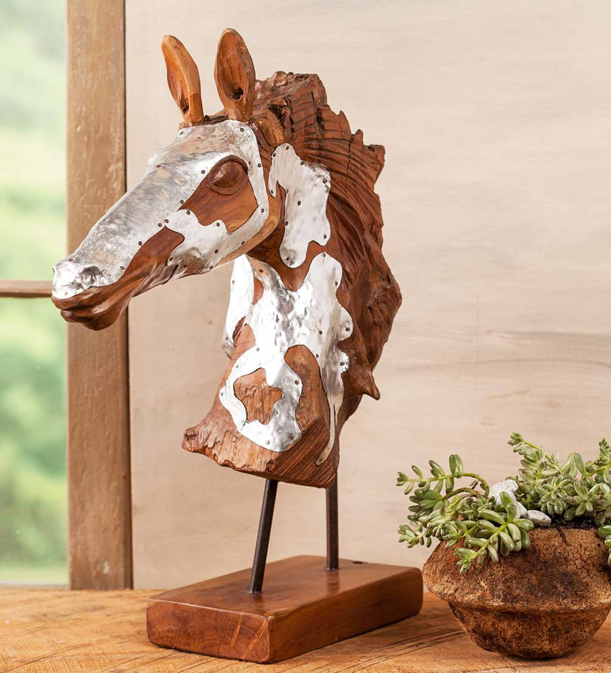 Wood and metal horse head sculpture wind weather