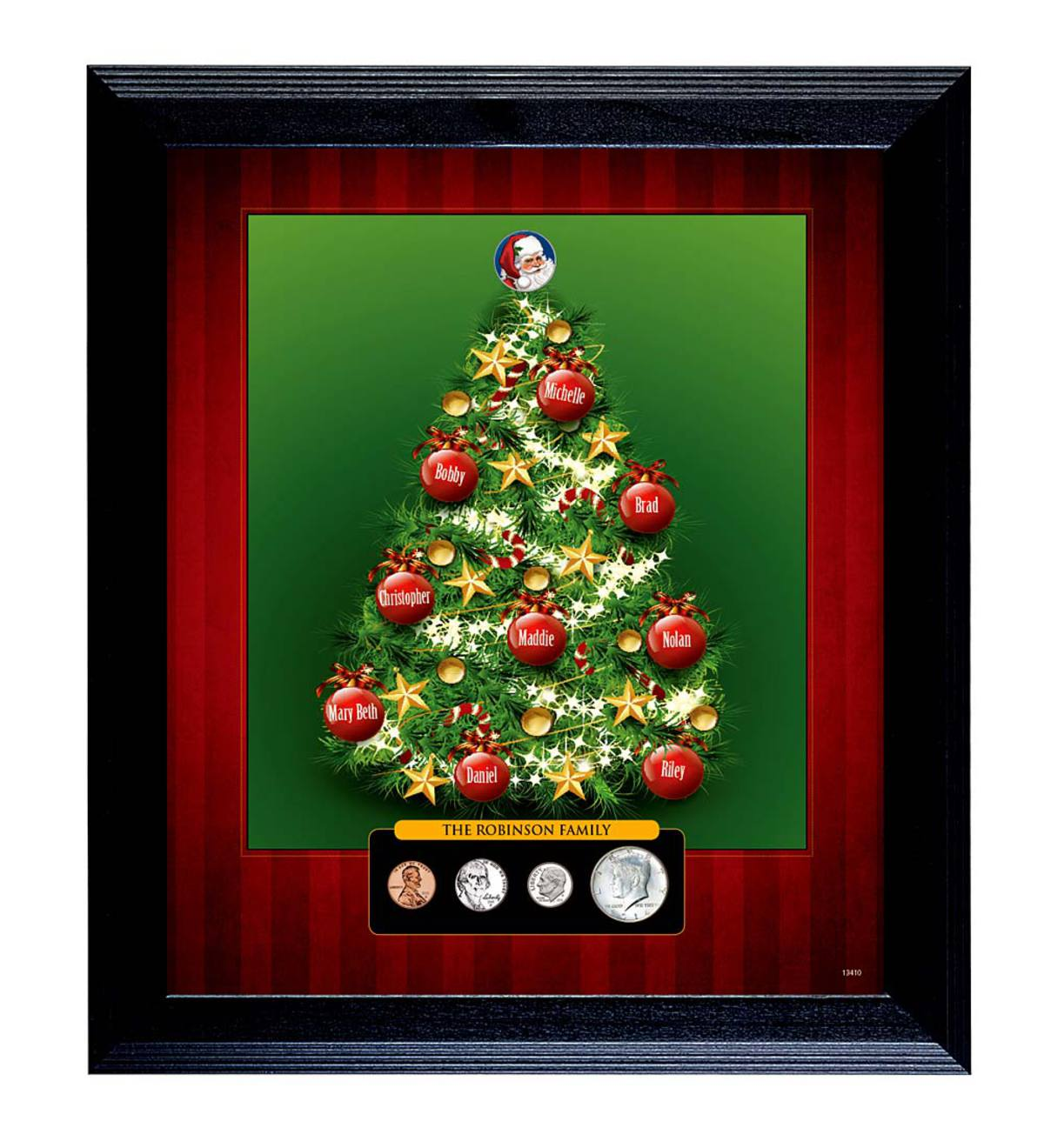 Personalized Family Christmas Tree Wall Hanging with Frame