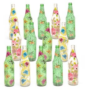 Metal Ivy Bottle Tree and Set of 14 Glass Bottles