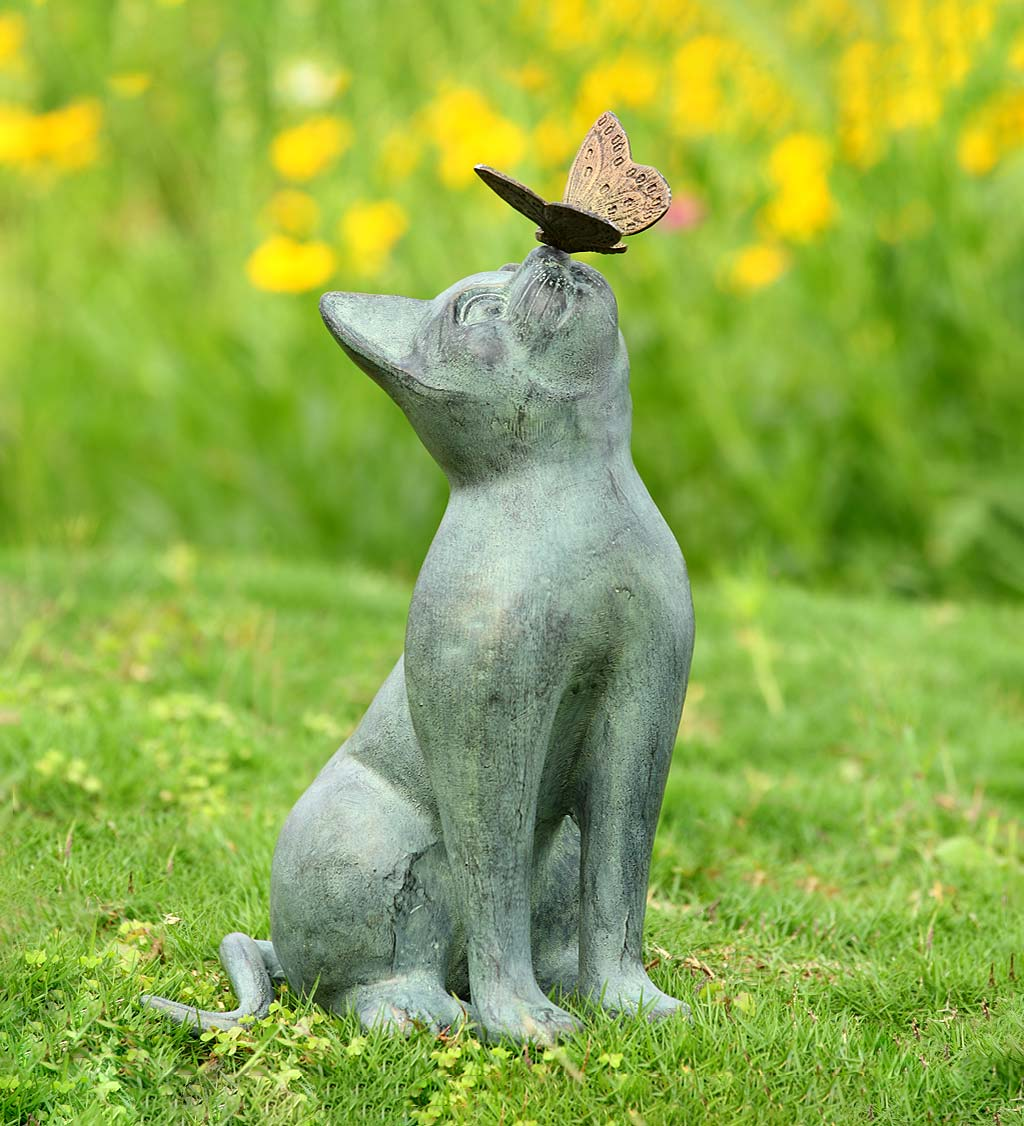 Handcrafted Curious Cat with Butterfly Indoor/Outdoor Sculpture