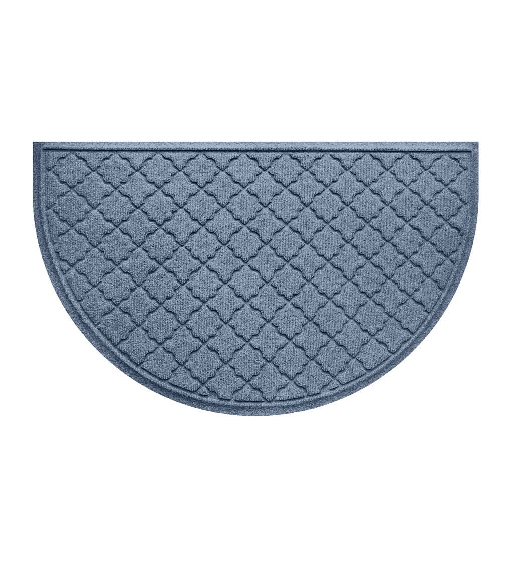 "Waterhog Indoor/Outdoor Geometric Half-Round Doormat, 24"" x 39"" - Bluestone"