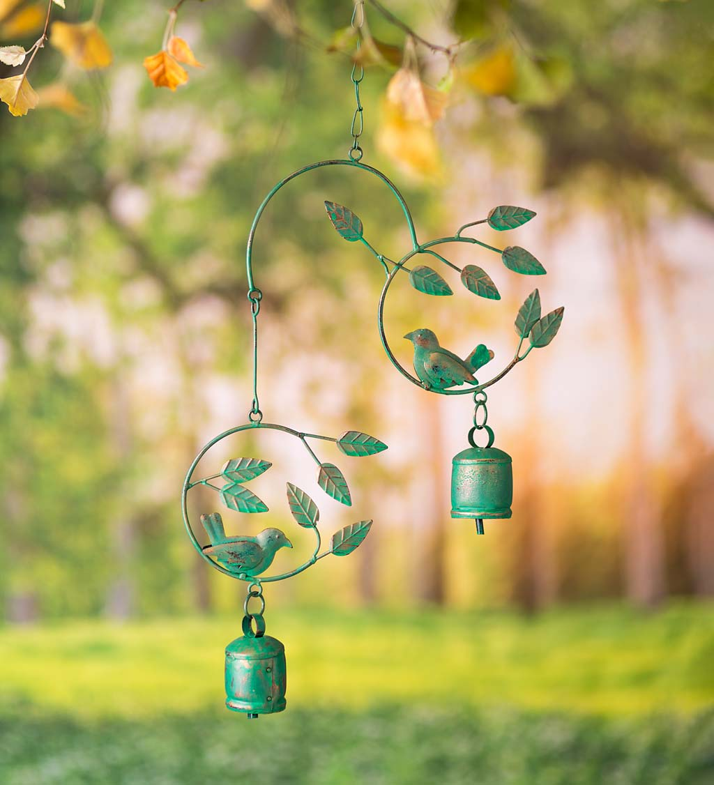 Metal Birds and Bells Wind Chime with Green Over Gold Patina-Like Finish