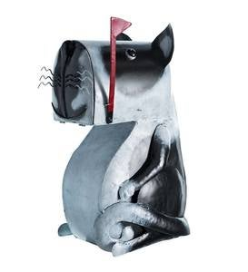 Black and White Metal Sitting Dog Mailbox
