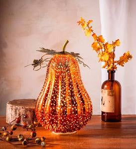 Lighted Mercury Glass Gourd