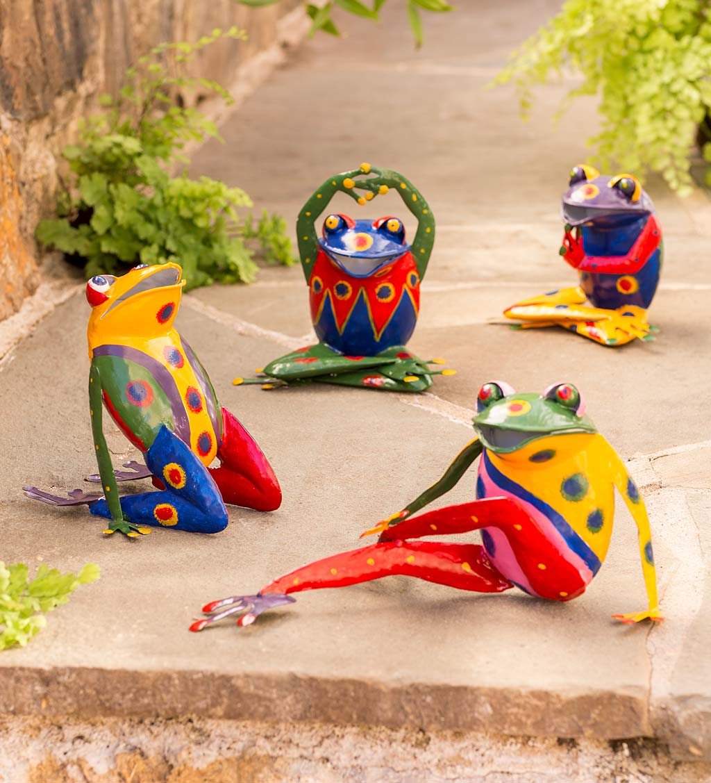 Handcrafted Colorful Metal Yoga Frog Sculptures