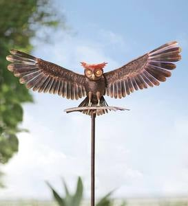 Handcrafted Bronze-Colored Metal Owl Garden Sculpture on Stake