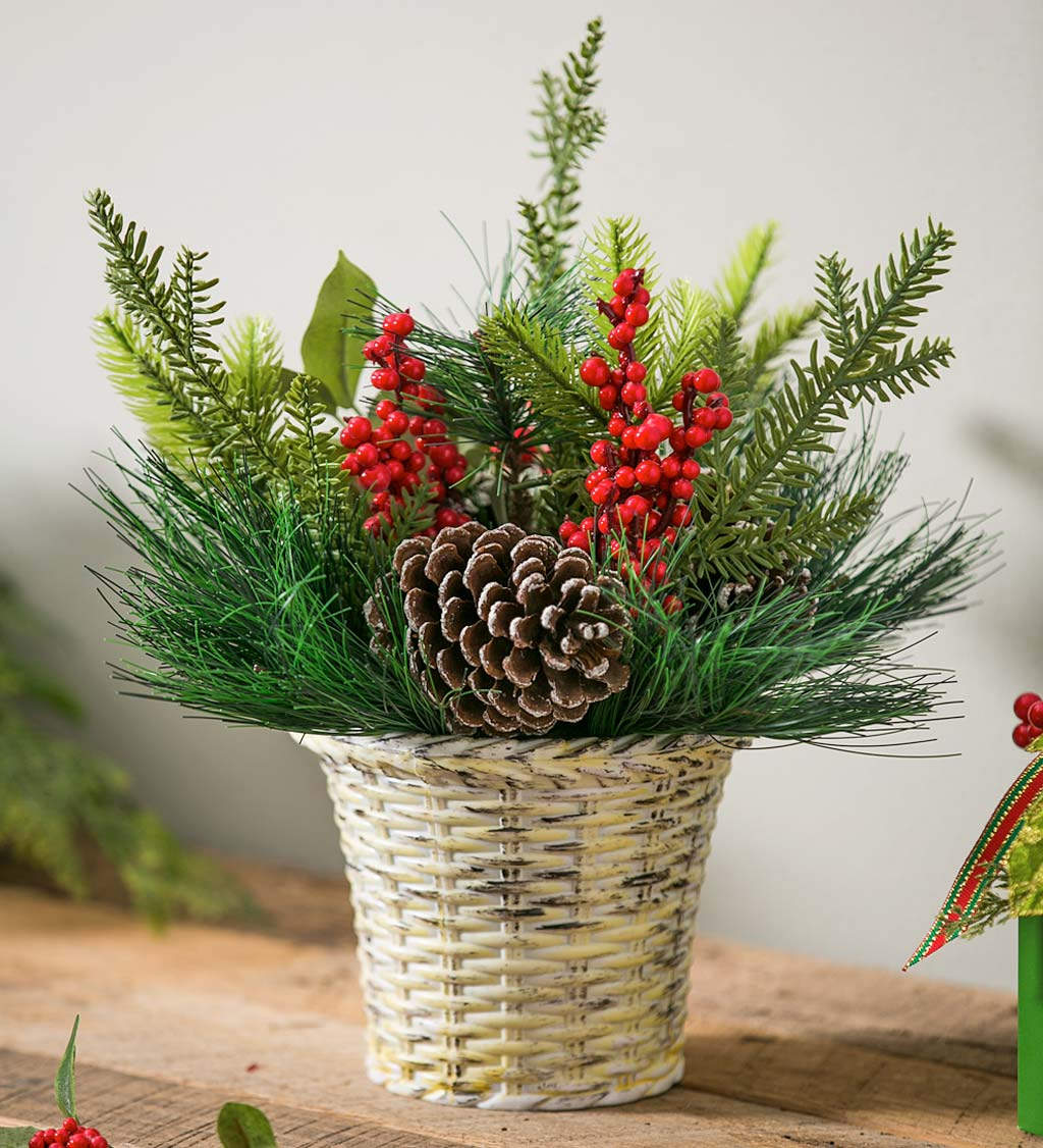 Berry and Pinecone Tabletop Decor