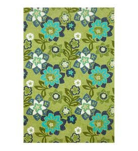 Blue and Green Floral Accent Rug