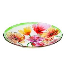 Glass Poppies Birdbath Bowl