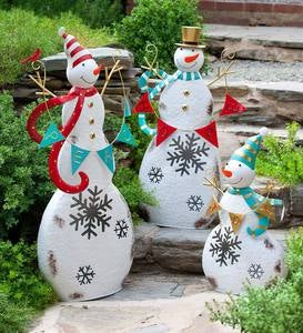 Lighted Metal Snowmen, Set of 3