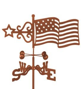 Flag Steel Weathervane With Windcups