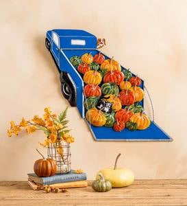 Metal Pumpkin Truck Wall Art