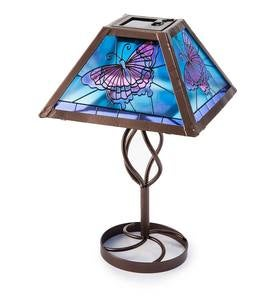 Tiffany-Style Stained Glass Solar Outdoor Table Accent Lamp - Butterfly