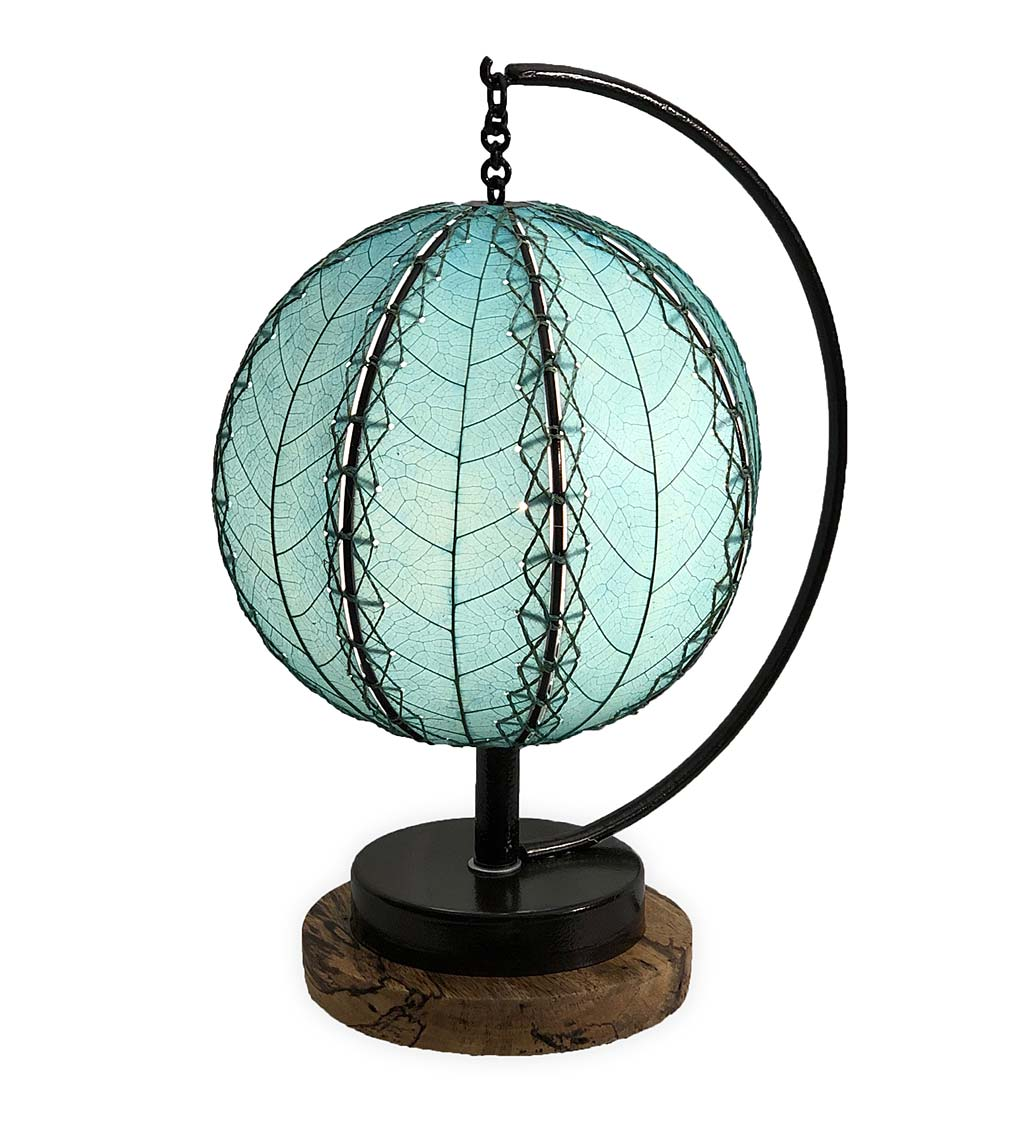 Orb Table Lamp with Leaf Shade