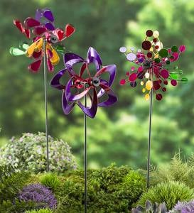 Pinwheel Mini Wind Spinners with Garden Stake, Set of 3