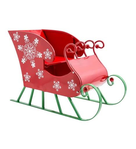 Red Metal Sleigh Holiday Decoration