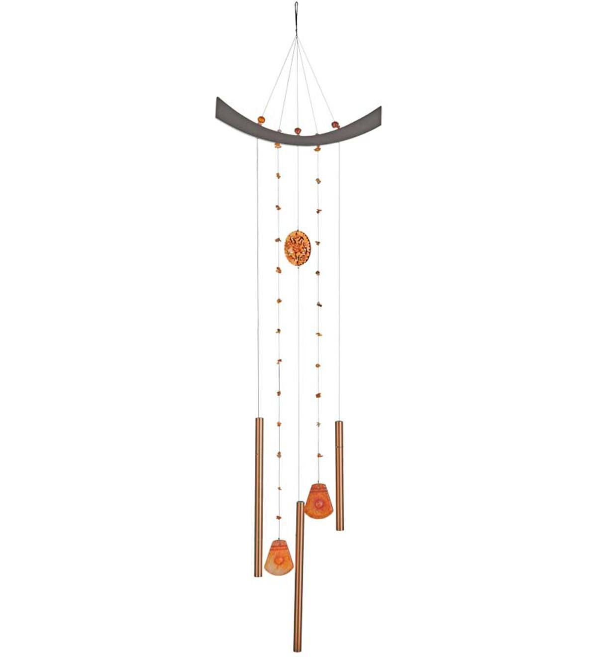Feng Shui Energy Wind Chimes with Semiprecious Stone Accents - Jade