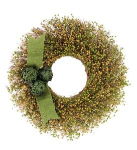 Green and Yellow Flax Seed Wreath