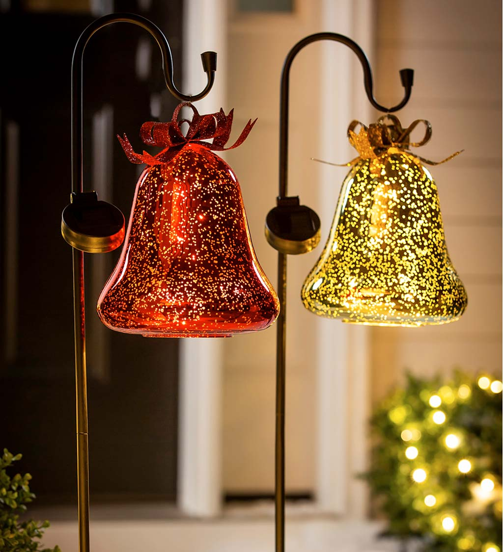 Solar Lighted Christmas Bell on Shepherd's Hook, Set of 2 - Red and Gold