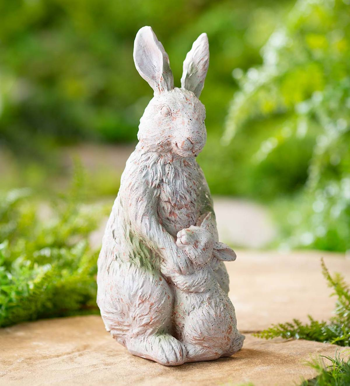 Indoor/Outdoor Sculpture of a Mother Rabbit With Her Baby