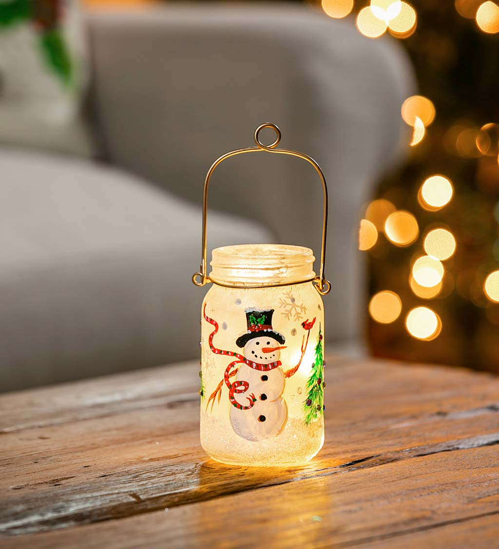 Hand Painted LED Snowman and Cardinal Mason Jar Lantern