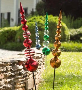 Glass Finial Garden Stake - Red