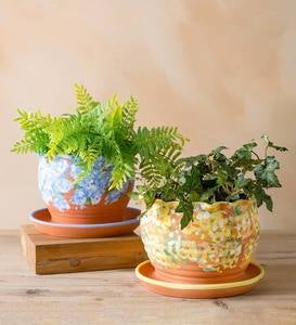 Handcrafted Scalloped Terra Cotta Flower Pot with Basin - Yellow