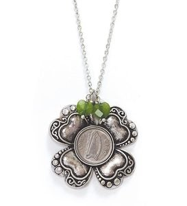 Irish Threepence Four Leaf Clover And Green Heart Charms Pendant With Chain