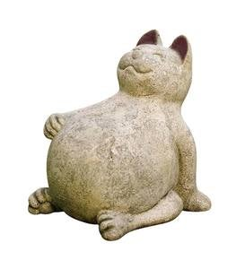 Handcrafted Volcanic Ash Lucky Cat Indoor/Outdoor Sculpture