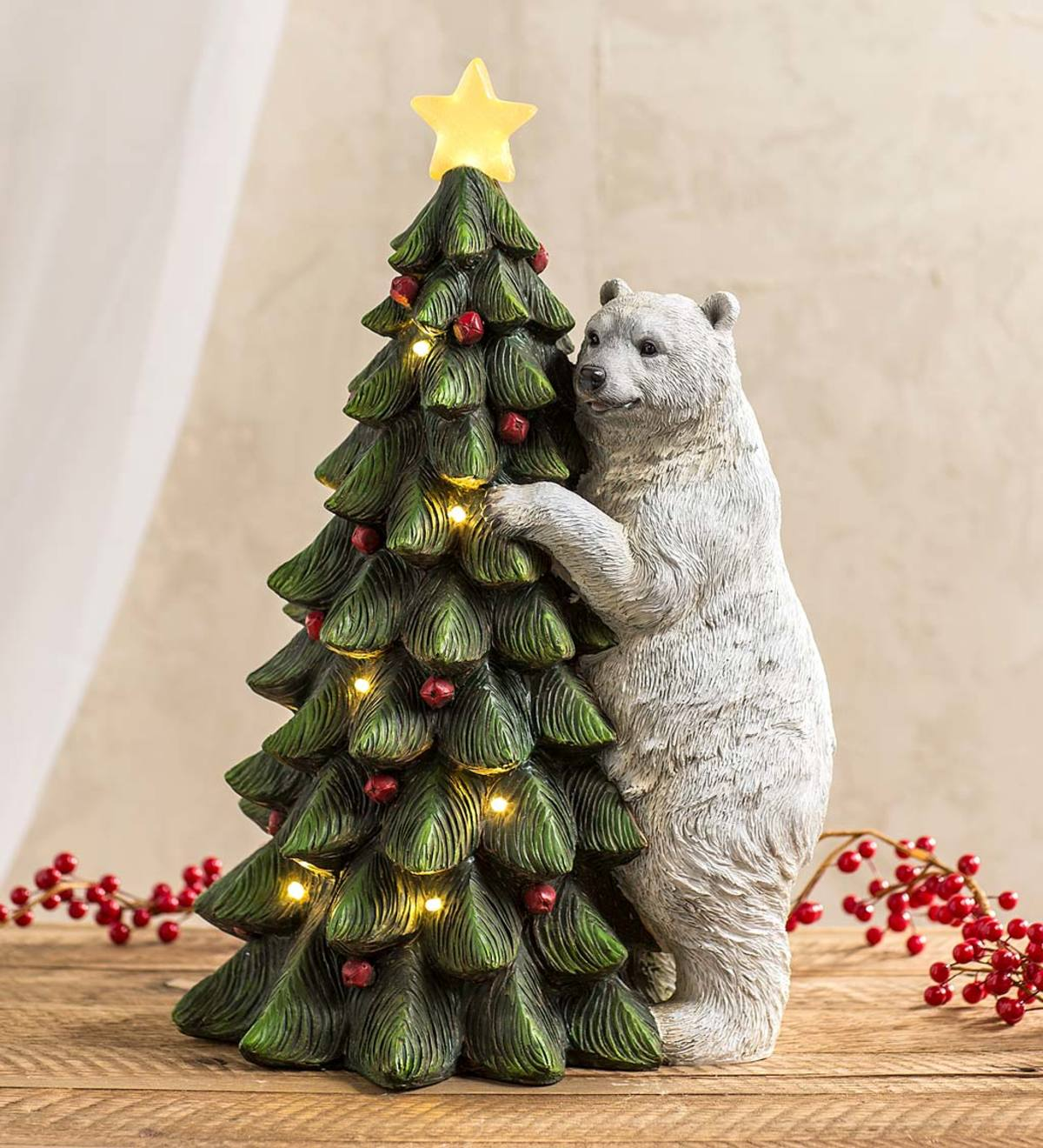 Christmas Statue Decorations: Polar Bear With Christmas Tree Lighted Holiday Statue