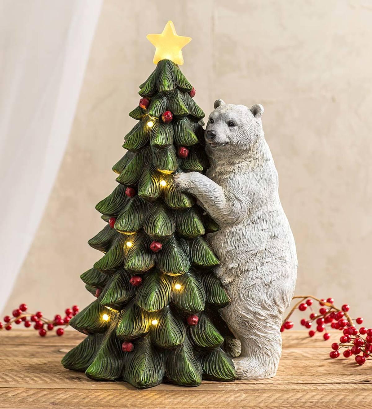 Polar Bear with Christmas Tree Lighted Holiday Statue ...